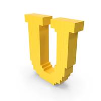 Stylized Cartoon Voxel Pixel Art Letter U PNG & PSD Images