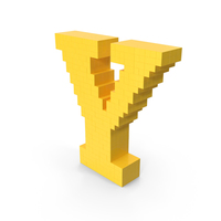 Stylized Cartoon Voxel Pixel Art Letter Y PNG & PSD Images