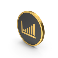 Bar Graph Gold Icon PNG & PSD Images