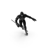Humanoid Hockey Player With Stick Pose Black PNG & PSD Images