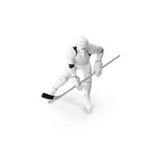 Hummanoid Hockey Player Wtih Stick Pose White PNG & PSD Images