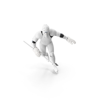 Humanoid Hockey Player With Stick Pose White PNG & PSD Images