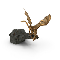 Golden Dragon On Rock PNG & PSD Images