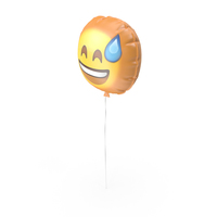 Smiling with Sweat Emoji Balloon PNG & PSD Images