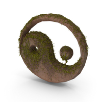 Ancient Stone with Ivy Yin Yang PNG & PSD Images