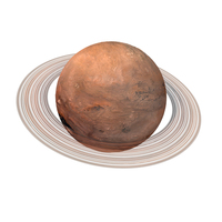 Fictional Orange Planet with Ring PNG & PSD Images