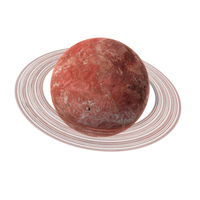 Fictional Red Planet with Ring PNG & PSD Images