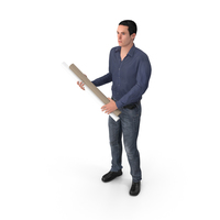 Casual Man James Holding Plans PNG & PSD Images