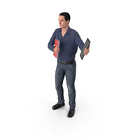 Casual Man James Holding Books And Tablet PNG & PSD Images