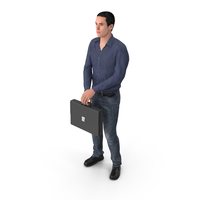 Casual Man James Holding Briefcase PNG & PSD Images