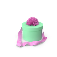 Green Round Box with Pink Ribbon PNG & PSD Images