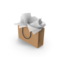 Craft Shopping Bag with White Gift Paper PNG & PSD Images