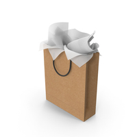 Craft Shopping Bag Tall with White Gift Paper PNG & PSD Images