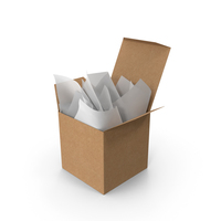 Craft Square Packaging Box with White Gift Paper PNG & PSD Images