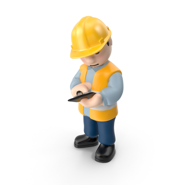 Worker with Pad PNG & PSD Images