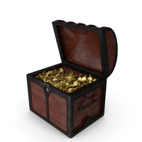 Small Wooden Chest with Gold Coins PNG & PSD Images