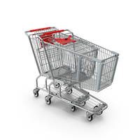 Metal Shopping Carts Red Row PNG & PSD Images