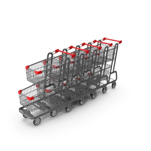 Metal Shopping Carts Row PNG & PSD Images