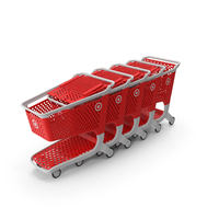 Plastic Shopping Carts Row of 5 PNG & PSD Images