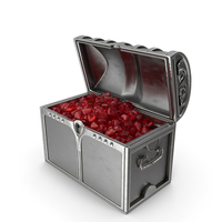 Silver Chest With Large Ruby Gems PNG & PSD Images