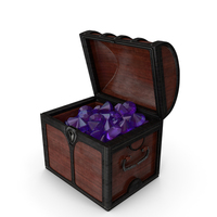 Small Wooden Chest With Huge Amethyst Gems PNG & PSD Images