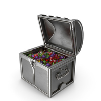 Small Silver Chest With Large Mixed Gems PNG & PSD Images