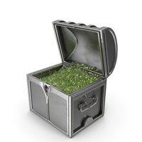 Small Silver Chest With small Emerald gems PNG & PSD Images
