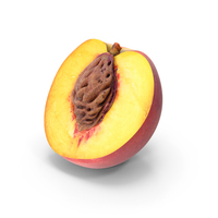 Peach Half Cut with Seed PNG & PSD Images