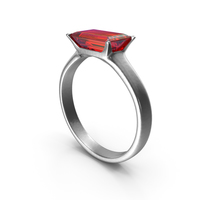 Silver Ring with Large Rectangle Ruby Diamond PNG & PSD Images