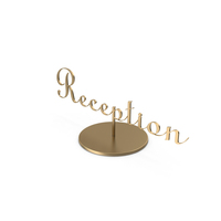 Table Sign Reception Brushed Bronze PNG & PSD Images