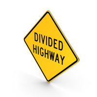 Divided Highway Sign PNG & PSD Images