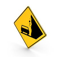 Falling Rocks California Vermont Road Sign PNG & PSD Images