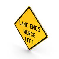 Lane Ends Merge Left Road Sign PNG & PSD Images
