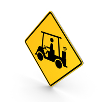 Golf Cart Crossing Road Sign PNG & PSD Images