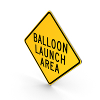 Balloon Launch Area Road Sign PNG & PSD Images