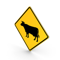 Cattle Crossing Road Sign PNG & PSD Images