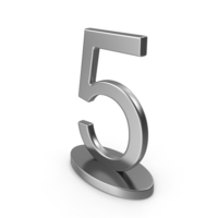 Silver Table Numbers Sign 5 PNG & PSD Images