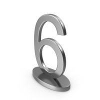 Silver Table Numbers Sign 6 PNG & PSD Images