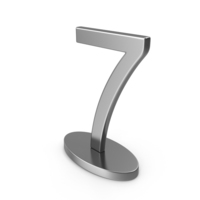 Silver Table Numbers Sign 7 PNG & PSD Images