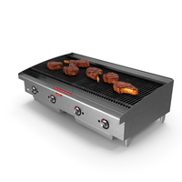 Countertop Stainless Steel Charbroiler with Meat PNG & PSD Images