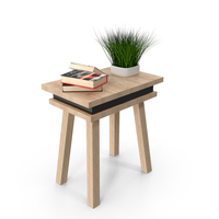 Desk with Books and Plant PNG & PSD Images