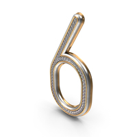 Bling Diamonds Number 6 PNG & PSD Images