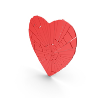Flat Heart Cracked PNG & PSD Images