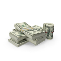 Small Pile of dollar stacks PNG & PSD Images