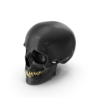 Black Skull with Gold Teeth PNG & PSD Images