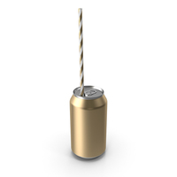 Gold Soda Can with Drinking Straw PNG & PSD Images
