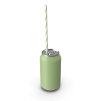 Green Soda Can with Drinking Straw PNG & PSD Images
