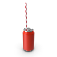 Red Soda Can with Drinking Straw PNG & PSD Images