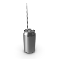 Silver Soda Can with Drinking Straw PNG & PSD Images