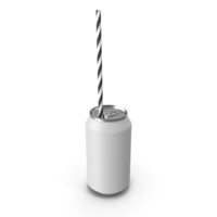 White Soda Can with Drinking Straw PNG & PSD Images